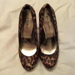 Animal print platform heels